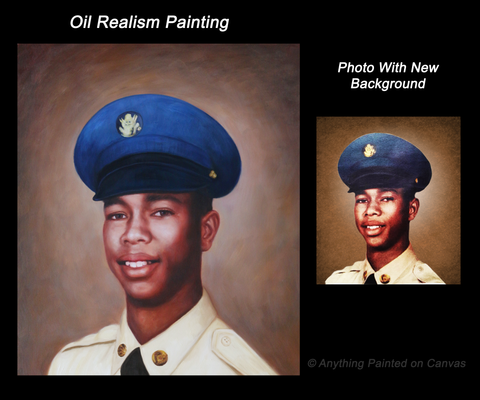 Realistic oil painting of a young man in military uniform from photo
