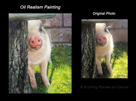 Realistic oil painting of a piglet from photo