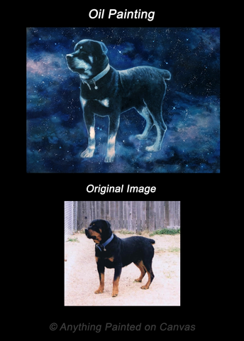 Fantasy painting of a starry dog from photo