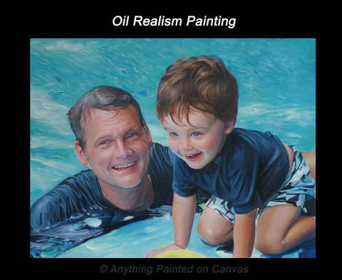 Realistic oil painting of father and son from photo