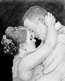 Black and white pencil drawing of a bride and groom.