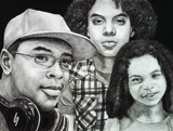 Charcoal drawing of three kids.