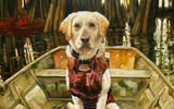 Oil painting of a yellow dog in a boat.