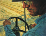 Impressionist oil painting of a man driving a tractor.
