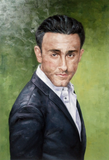 Oil painting of a man in a tux.