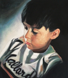 Oil painting of a young boy in a baseball jersey.