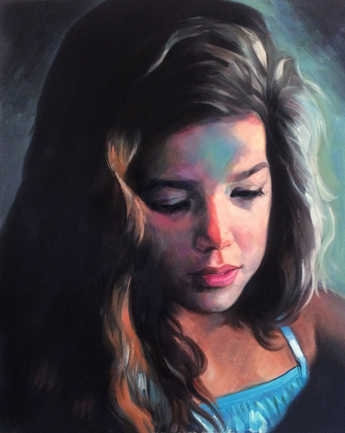 Impressionist oil painting of a young girl.