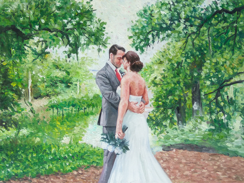 Custom oil painting of a bride and groom.