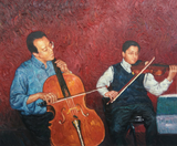 Oil painting of cello and violin players.