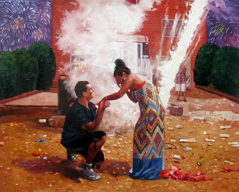 Oil painting of a man proposing with fireworks in the background.