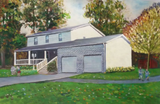Oil painting of a white two story home.