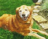 Oil painting of a golden retriever.