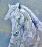 Knife impressionist oil painting of a white horse.