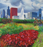 Impressionist oil painting of a cityscape with flowers in the foreground.
