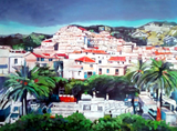 Oil painting of a Spanish town.