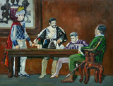 Impressionist oil painting of men sitting around a table in medieval clothes