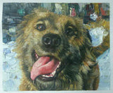 Oil painting of a yellow dog with tongue hanging out.