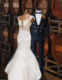 Oil painting of wedding dress and groom's tux. Custom wedding portrait.
