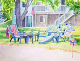 Custom watercolor lawn chairs with house in the background.
