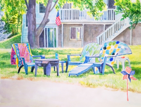 Watercolor painting of a front lawn with house in the background.