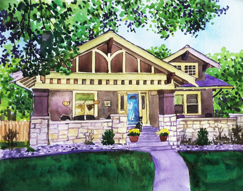 Watercolor painting of a house and front yard.