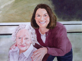 Watercolor painting of grandma and adult grandchild.