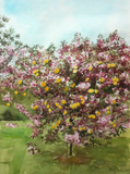 Watercolor painting of an orchard.