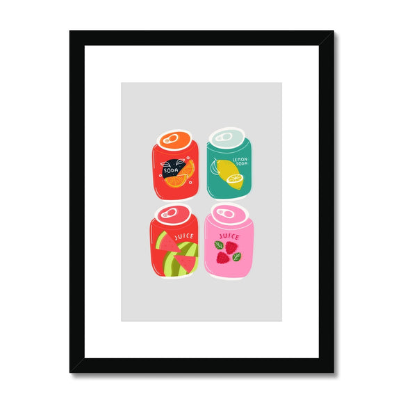 Soda Cans Collection Framed & Mounted Print