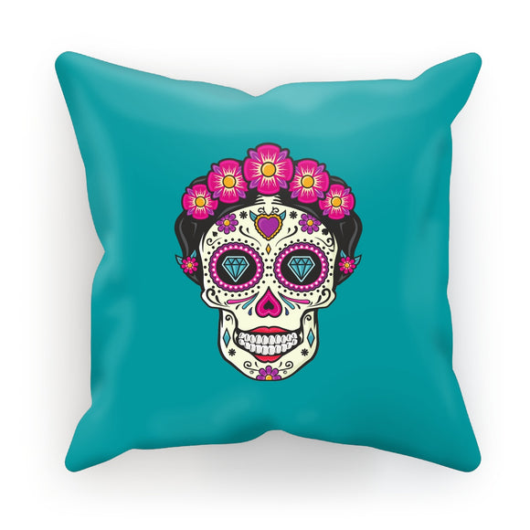 Mexican Skull Turquoise Cushion
