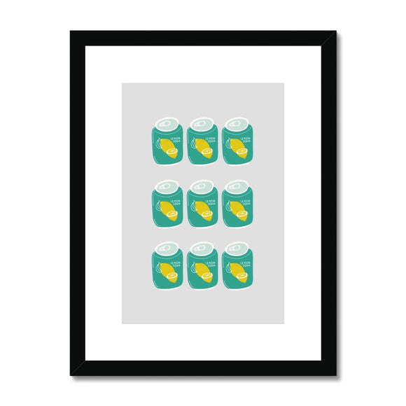 Lemon Soda Cans Framed & Mounted Print