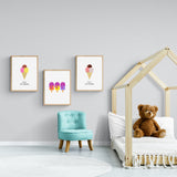 Happy Ice Creams Pink & Yellow Framed Print
