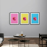 Lollipop Lips Blue Framed & Mounted Print