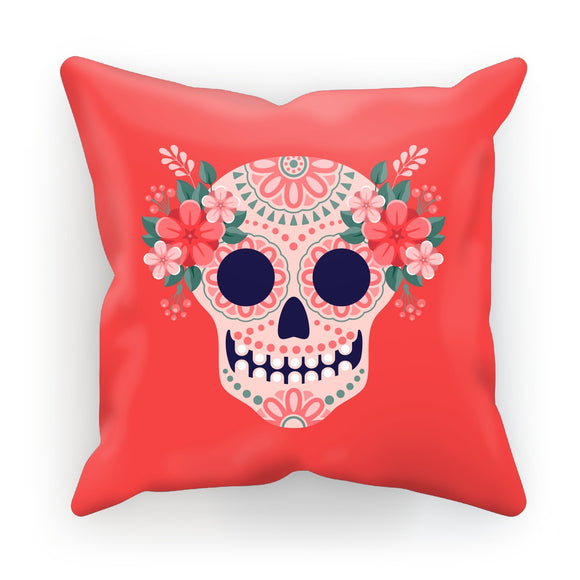 Mexican Skull Red Cushion