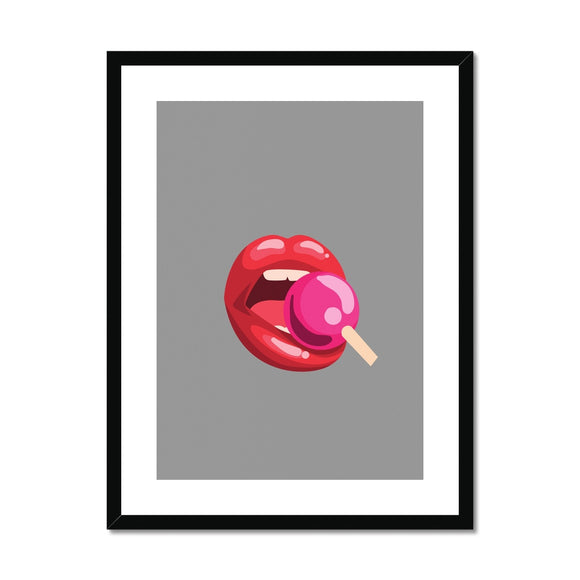 Lollipop Lips grey Framed & Mounted Print