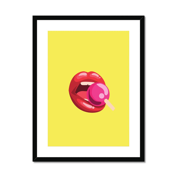 Lollipop Lips yellow Framed & Mounted Print