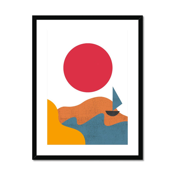 Red Sun & Boat Framed & Mounted Print