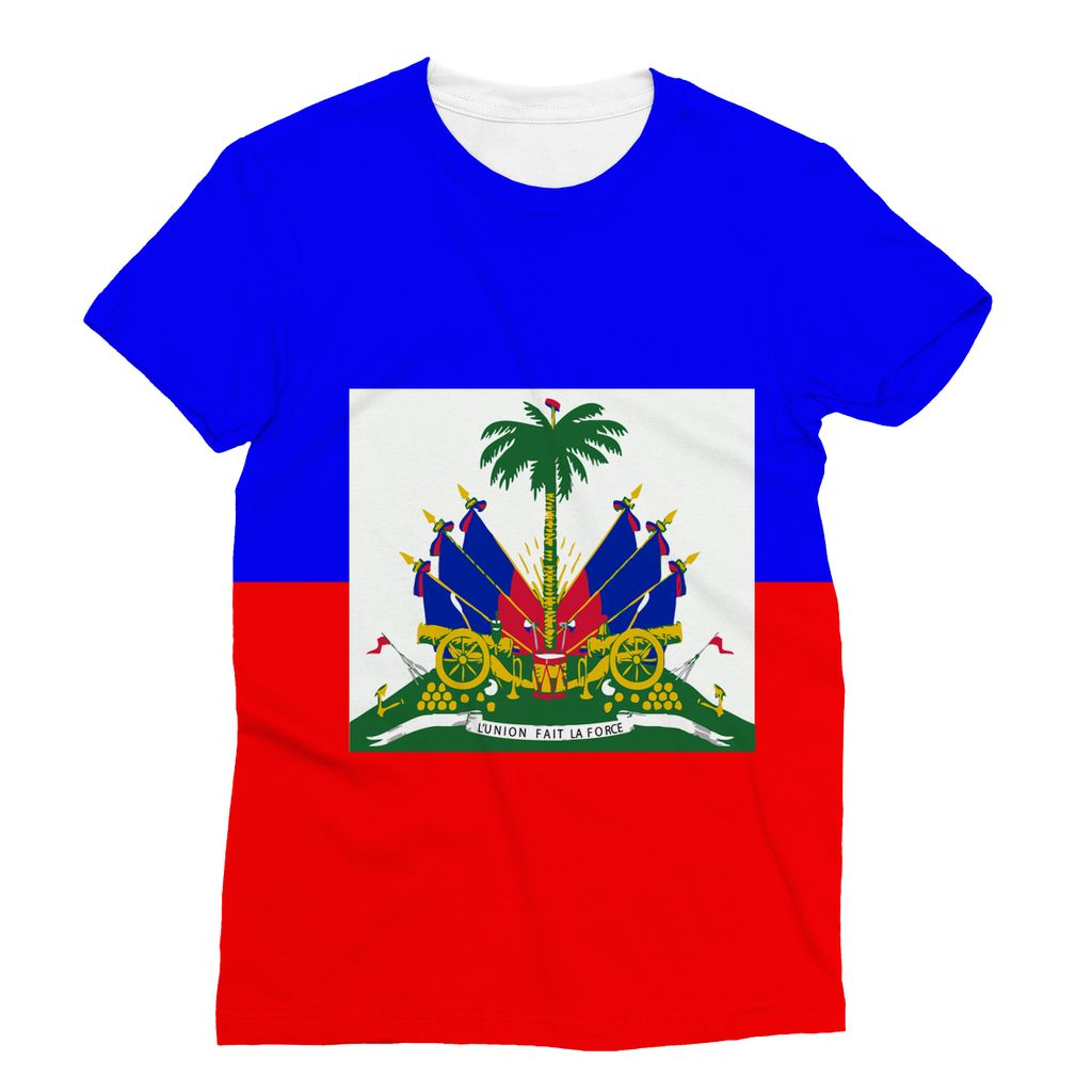 Flag Of Haiti Sublimation T-Shirt Apparel Flagdesignproducts.com