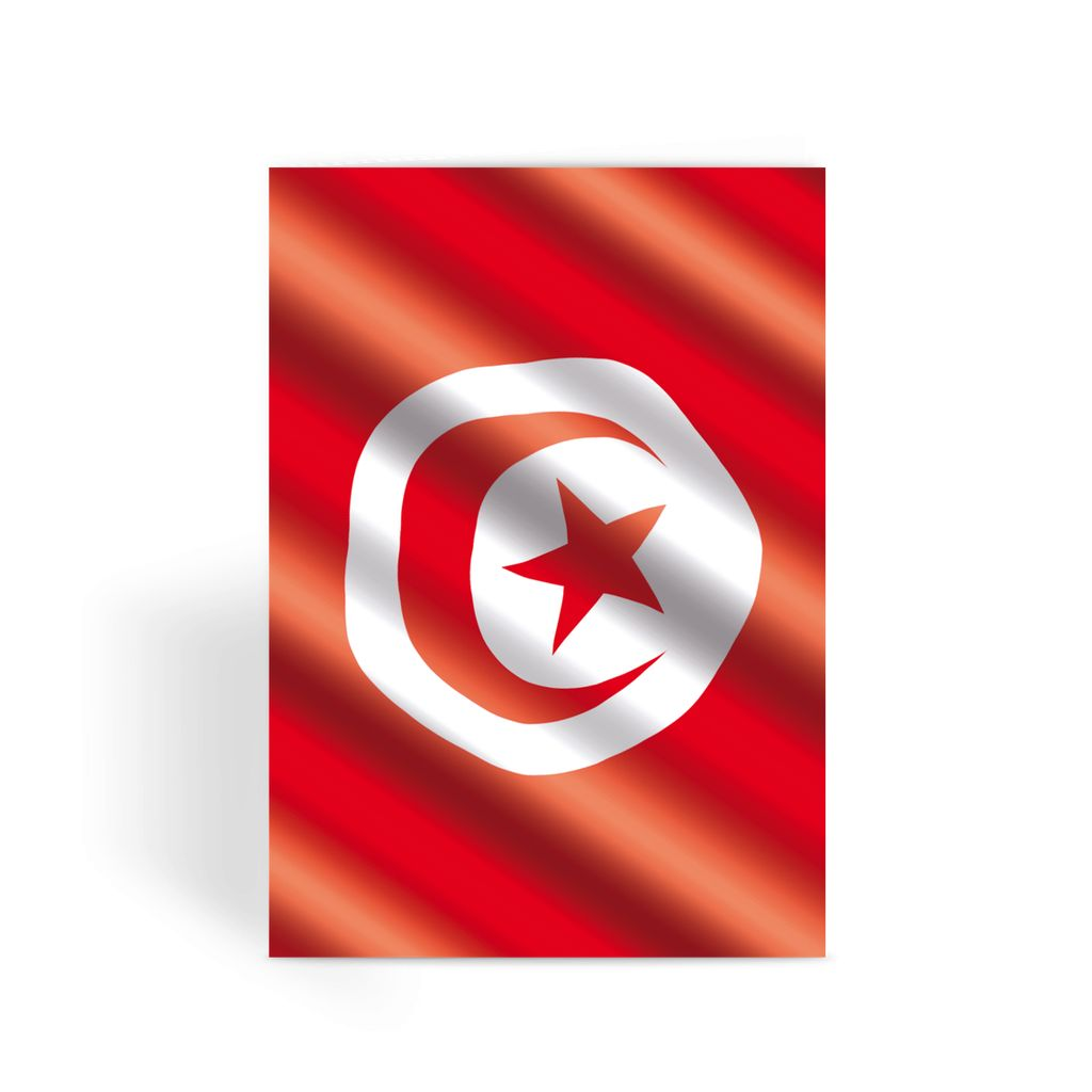 Waving Tunisia Flag Greeting Card Prints Flagdesignproducts.com