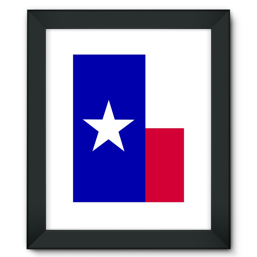 Basic Texas Flag Framed Fine Art Print Wall Decor Flagdesignproducts.com