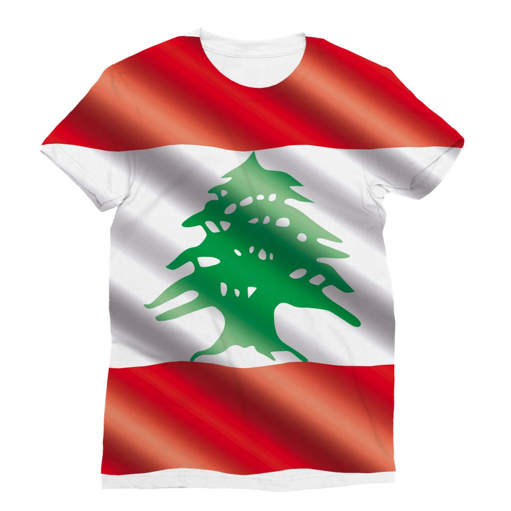Waving Lebanon Flag Sublimation T-Shirt Apparel Flagdesignproducts.com