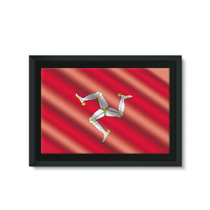 Waving Isle Of Man Flag Framed Canvas Wall Decor Flagdesignproducts.com