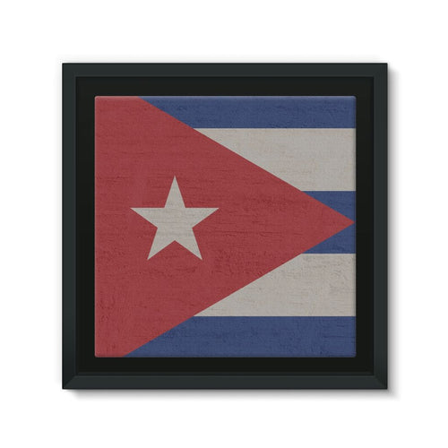 Cuba Stone Wall Flag Framed Eco-Canvas Decor Flagdesignproducts.com