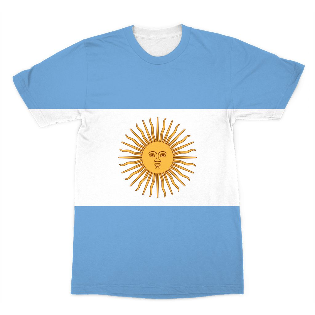 Argentina Flag Sublimation T-Shirt Apparel Flagdesignproducts.com