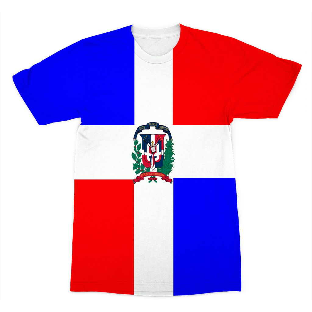 Flag Of Dominican Republic Sublimation T-Shirt Apparel Flagdesignproducts.com