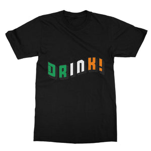 Drink Ireland Flag Text Softstyle Ringspun T-Shirt Apparel Flagdesignproducts.com