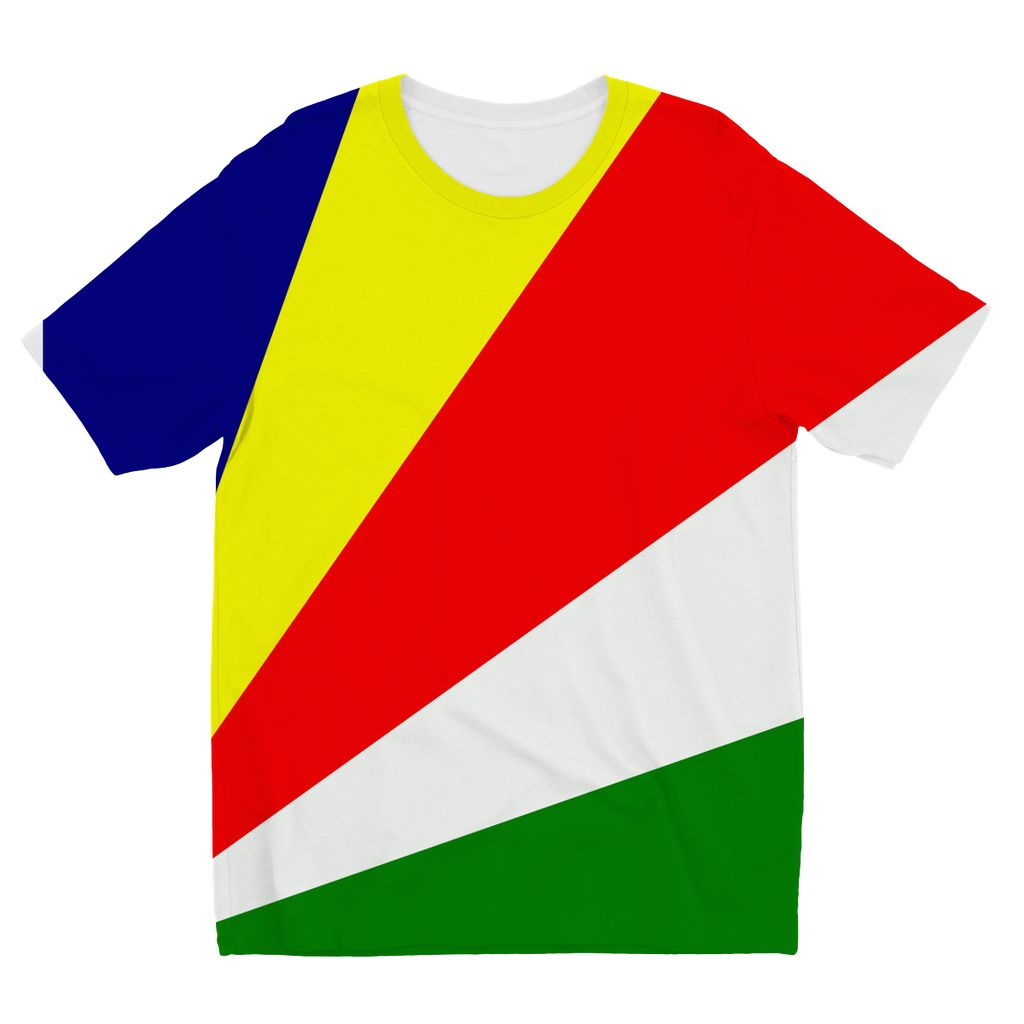 Flag Of Seychelles Kids Sublimation T-Shirt Apparel Flagdesignproducts.com