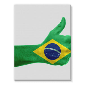 Brazil Hand Flag Stretched Eco-Canvas Wall Decor Flagdesignproducts.com