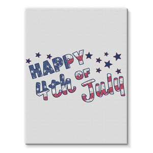 4Th July Usa Text Flag Stretched Canvas Wall Decor Flagdesignproducts.com