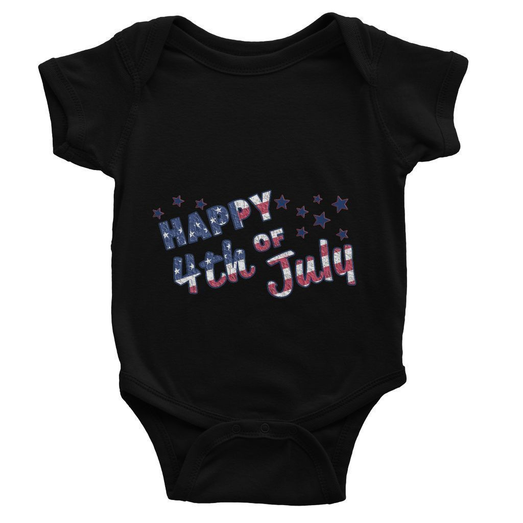 4Th July Usa Text Flag Baby Bodysuit Apparel Flagdesignproducts.com