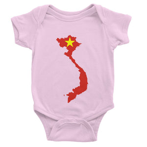 Vietnam Continent Flag Baby Bodysuit Apparel Flagdesignproducts.com